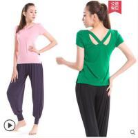灯笼裤时尚两件套现代舞蹈服装短袖速干瑜伽服套装莫代尔宽松健身服