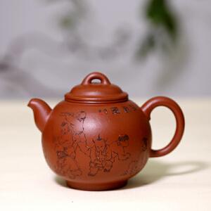宜兴紫砂茶壶 粗砂朱泥得福 助工李宝亮刻 工艺美术员蒋敏芝制