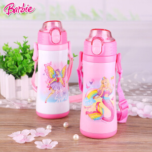 Barbie/芭比 儿童双效保温杯冷保温杯女童弹盖吸管不锈钢保温杯MB6008