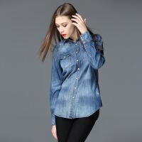 2017春装新款牛仔衬衫女长袖短款衬衣复古水洗牛仔褂打底衫 浅蓝色