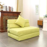 【品牌热卖】折叠沙发床北欧布艺创意科技布小户型简约现代轻奢折叠可躺懒人沙发床 方形沙发米黄色