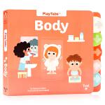 人体 Body Playtabs 英文原版纸板书 幼儿身体启蒙科普百科绘本 标签抽拉纸板机关书 儿童英语启蒙图画书 T