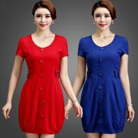 新款连衣裙夏季加肥加大码女宽松胖mm韩版中年胖妈妈短袖裙子