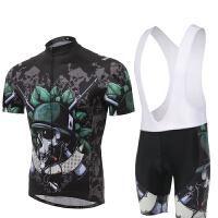骷髅士兵骑行服背带短袖套装 自行车服 夏季吸湿排汗透气单车服 骷髅士兵 XXX