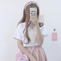 新款女装韩版甜美百搭绑带交叉基础纯色V领打底衫T恤上衣 白色 均码