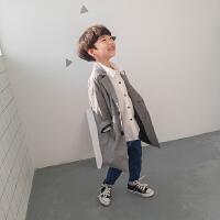 男童西装2018春秋新款韩版儿童西服外套休闲小西装春装格子中长款