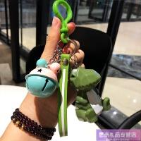 要是挂件切面动物钥匙挂件 可爱创意几何北欧风钥匙扣 捏捏叫玩偶包包挂件 +粉绿铃