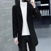 呢子大衣男中长款韩版潮流帅气青年修身妮子风衣秋冬季羊毛呢外套 8776黑色 M