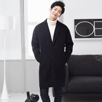 2017韩版新款冬季羊绒呢子风衣大衣男士中长款加厚毛呢外套男装 加棉