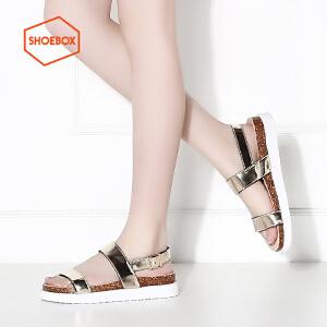 达芙妮旗下鞋柜shoebox/苹绮夏季学生韩版时尚凉鞋简约厚底平跟女鞋