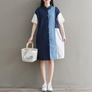 RANJU然聚 2018夏季女装新品新款拼布麻料短袖宽松大码中长款显瘦衬衫裙连衣裙女