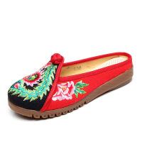 春季新款老北京布鞋女平底拼色民族风绣花凉鞋透气拖鞋休闲女鞋子