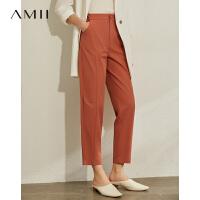 Amii极简洋气时尚休闲九分裤2021夏新款宽松直筒黑色显瘦西装裤女