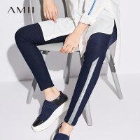 【到手价:58元】Amii极简原宿条纹百搭修身外穿小脚裤女2019春新款印花弹力打底裤