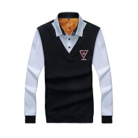 冬季加绒加厚保暖衬衫男士长袖套头青少年假两件纯色韩版休闲衬衣
