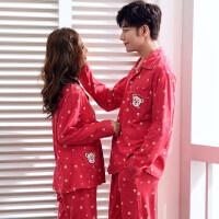 春秋季新婚情侣睡衣长袖纯棉小熊大红结婚男女士家居服套装 A8838红侣一对