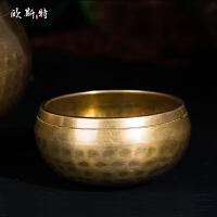 20180712020035325藏传佛教用品修行法器尼泊尔手工铜瑜珈颂钵铜磬转经碗佛音碗 直径17.5cm 高10c
