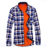 2017年秋冬新款加绒衬衫保暖加棉衬衣男士加绒格子长袖休闲衬衫