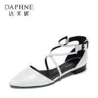 【达芙妮年货节】Daphne/达芙妮 尖头休闲交叉绑带浅口方跟平底女鞋女