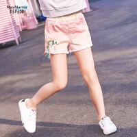 新款儿童牛仔短裤中大童趣味刺绣流苏韩版裤子
