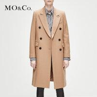 MOCO冬新品复古双排扣毛呢子糖果色大衣女中长款外套MA184OVC101