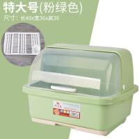 碗筷收纳盒带盖带沥水盘抽屉式多功能半翻盖特大家用放碗筷收纳箱