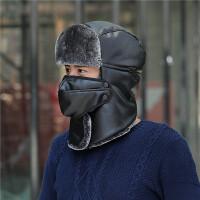 雷锋帽子女冬季防寒PU皮帽加绒围脖护耳冬帽男士骑车户外保暖棉帽