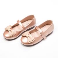 女童小皮鞋公主鞋蝴蝶结女童单鞋软底中大童皮鞋