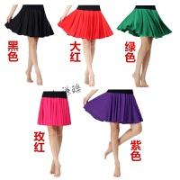 广场舞服装春夏黑色红色蓝色牛奶丝大摆裙百褶裙半身裙纯色