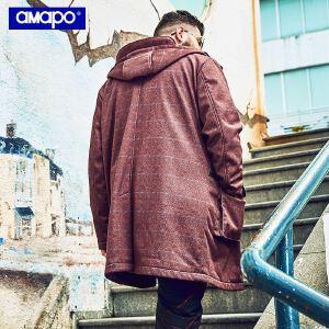 【限时抢购到手价:255元】AMAPO潮牌大码男装加肥加大码宽松潮胖子嘻哈外套中长款大衣男潮