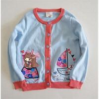 英伦风 小甜美 撞色捏边毛衣外套 女童/秋装 长袖针织开衫 三色