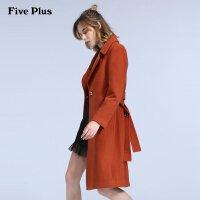 Five Plus女装羊毛大衣长袖翻领毛呢外套女中长款潮商场同款