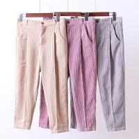 E2灯芯绒女裤子春秋新韩版宽松 显瘦长裤冬装小脚裤哈伦裤0.3