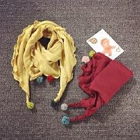 儿童围巾秋冬天保暖女童公主围脖宝宝脖套百搭单色球球韩版潮春季