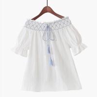 2018夏季新款清新木耳边纯色流苏系带一字领短袖娃娃衫衬衫女