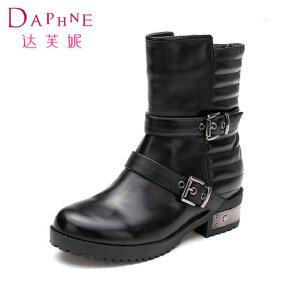 Daphne/达芙妮冬女靴 低跟防水台皮带扣中筒骑士靴