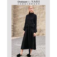 【折后价:384元/再叠券】Amii极简设计师款纯羊毛衫套头给色毛衣女士冬季新款高领上衣
