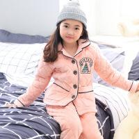 冬季儿童珊瑚绒夹棉睡衣套装法兰绒三层加厚男童新款家居服中大童