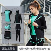 晨跑跑步运动套装女健身房健身服2018秋冬季瑜伽服大码速干运动衣