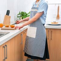 棉麻围裙时尚简约防水防油做饭围腰韩版厨房无袖家居罩衣女围腰 条纹--蓝色 均码
