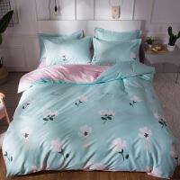 床上四件套棉网红1.8m夏季床单被套学生宿舍三件套 天蓝+粉 木棉花开yb 2.2m床 适合220*240被芯 四件套