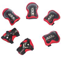 儿童护具六件套 滑板车运动护具 轮滑 护具 加厚 蝴蝶款8501 黑红色
