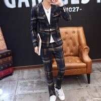 男士韩版薄款西服男青年英伦修身型小西装套装休闲秋季上衣两件套 蓝格 5
