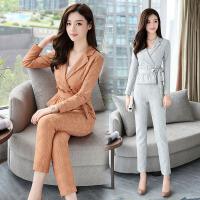 秋装新款两件套时髦显瘦蕾丝气质小西装九分裤时尚套装女