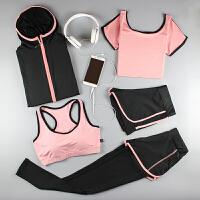 瑜伽服运动套装女夏季健身房晨跑装备五件套春夏新款跑步速干衣