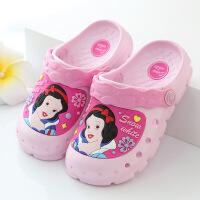迪士尼儿童洞洞鞋夏季凉拖鞋女童沙滩鞋可爱公主花园鞋防滑轻便