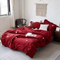 结婚水洗棉四件套爱心毛巾绣红色被套夏床上用品喜被 酒红色 JM初见 2米宽床 被套220*240cm
