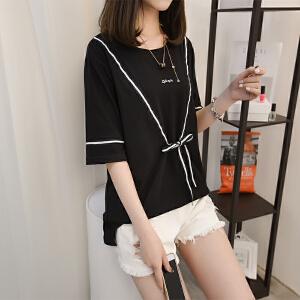 白色t恤女短袖宽松夏装2018新款韩版纯色体恤女学生棉款百搭上衣