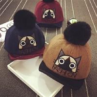 宝宝帽子1-2岁男童棒球帽秋冬鸭舌帽毛球毛呢女童保暖帽婴儿帽潮