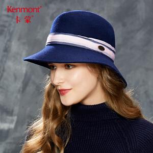 卡蒙全羊毛纯色毛毡帽秋款复古毛呢帽子女冬天青年英伦礼帽盆帽2628